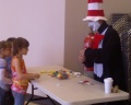Caitlyn & Holly visiting with the Cat in the Hat